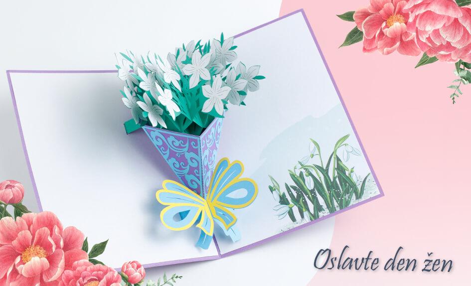 3D přání fialová kytice sněženek Sněženky - Mezinárodní den žen - MDŽ
