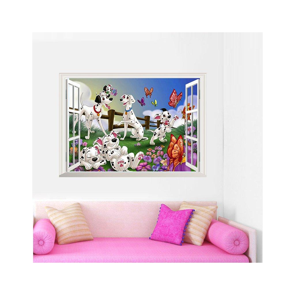 Samolepka na zeď 101 Dalmatinů v okně