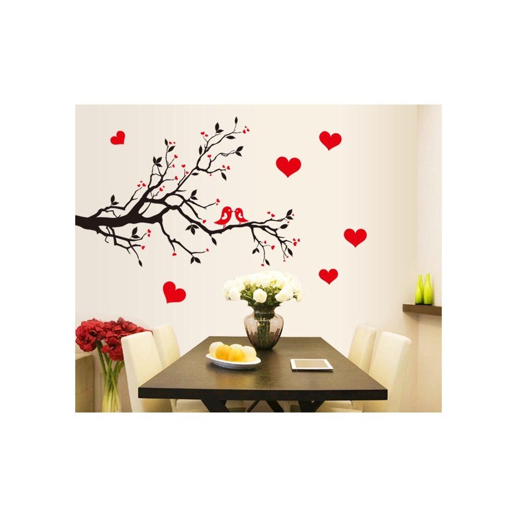 samolepka na zeď Zamilovaní ptáčci na větvi