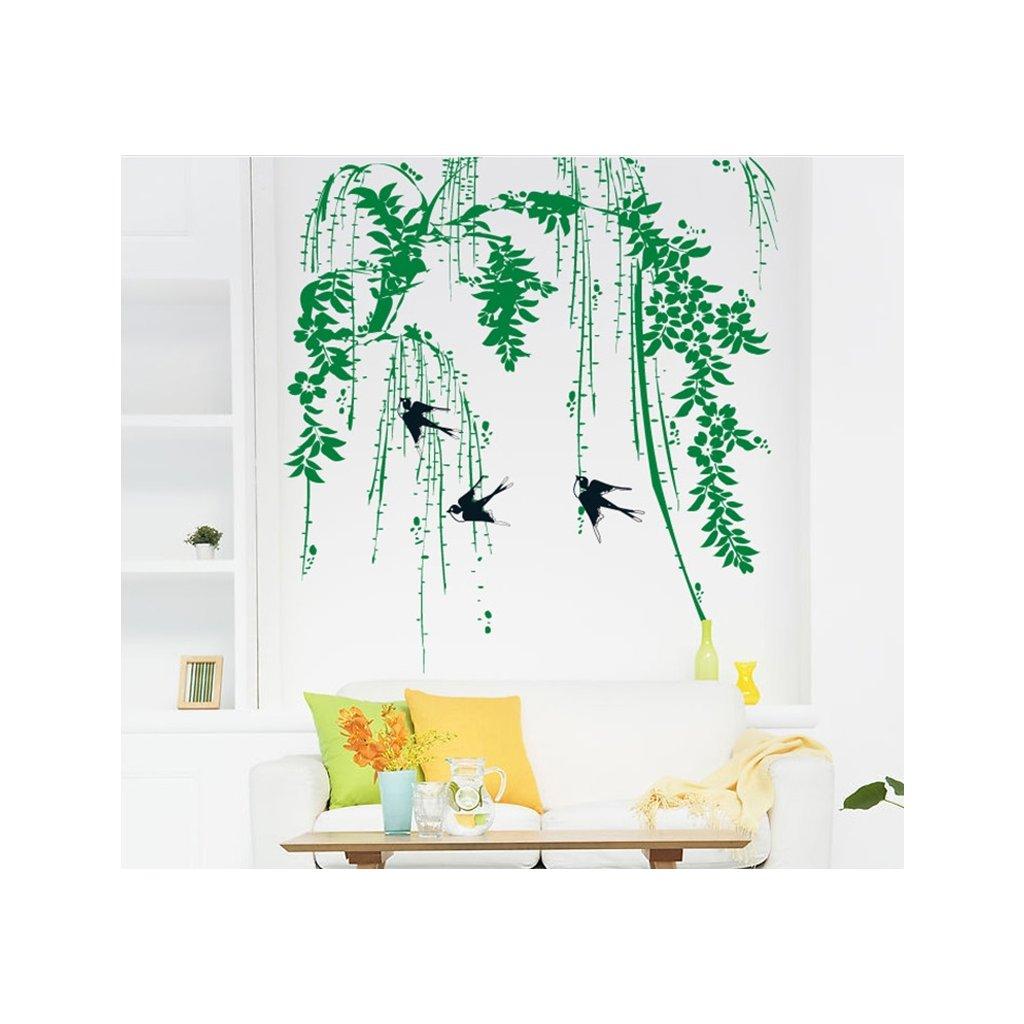 Samolepka na zeď Vlaštovky v korunách stromů
