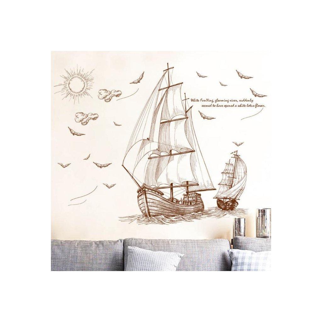Samolepka na zeď Pirátské lodě