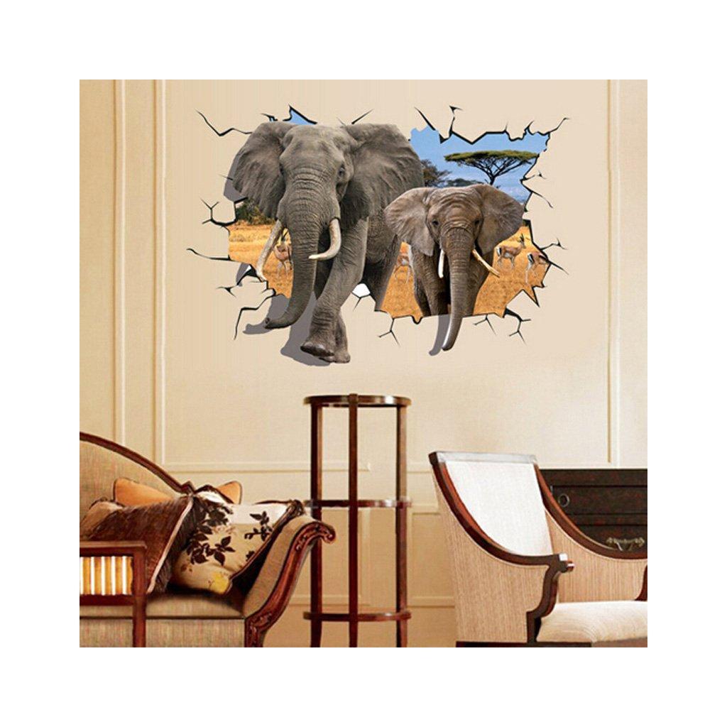 Samolepka na zeď 3D Sloni