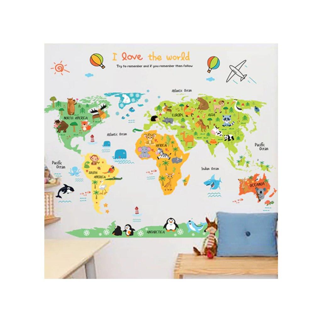 Samolepka na zeď Barevná dětská mapa Světa