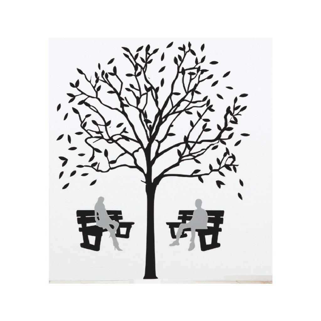 Samolepka na zeď Lavičky pod korunami stromů