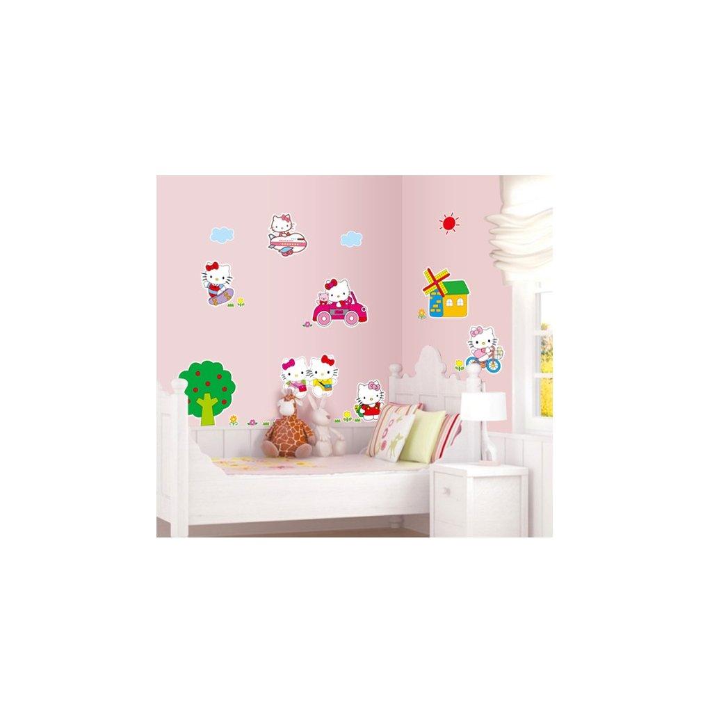 Samolepka na zeď Hello Kitty na výletě