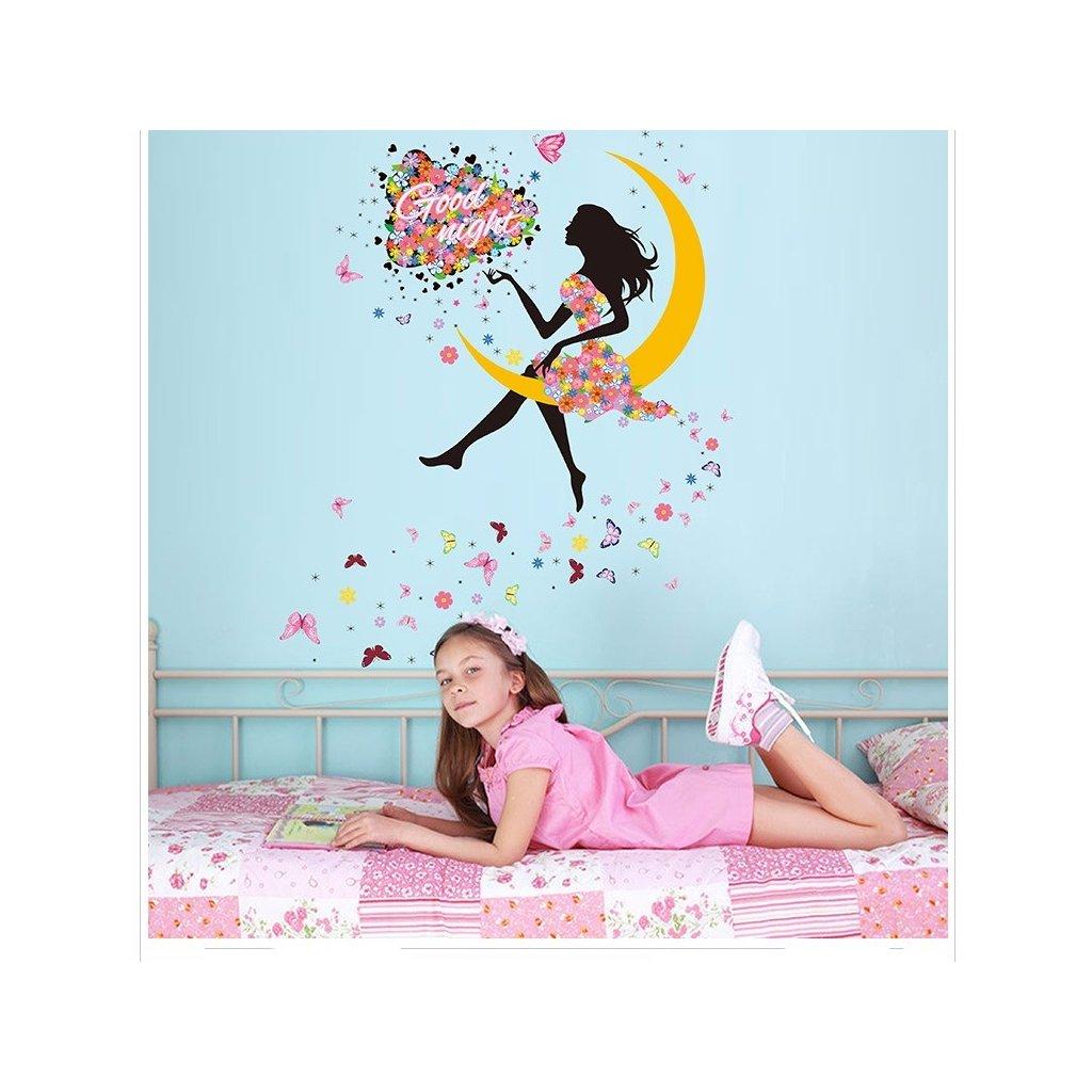 Samolepka na zeď Dívka sedící na Měsíci