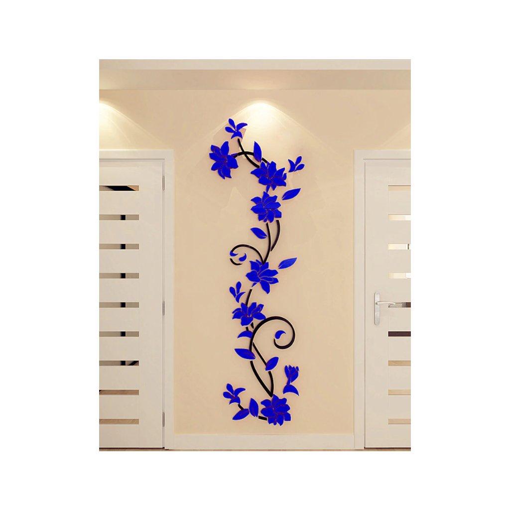 Samolepka na zeď Modré 3D Kytky