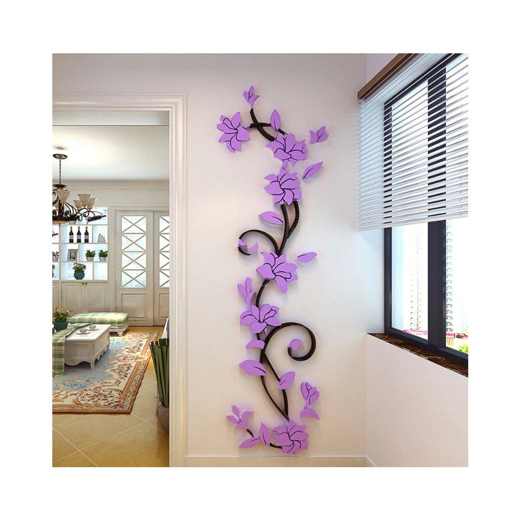 Samolepka na zeď Světle fialové 3D Kytky