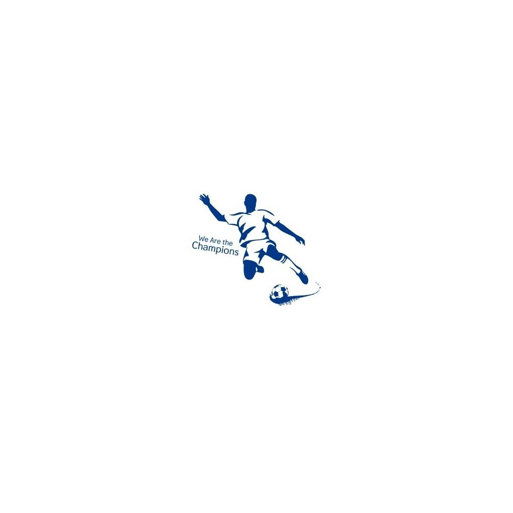 Samolepka na zeď Modrý fotbalista