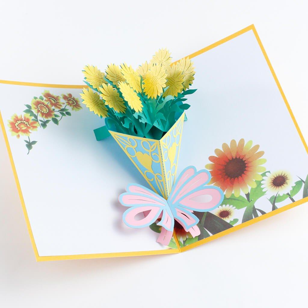 3D přání Kytice slunečnice