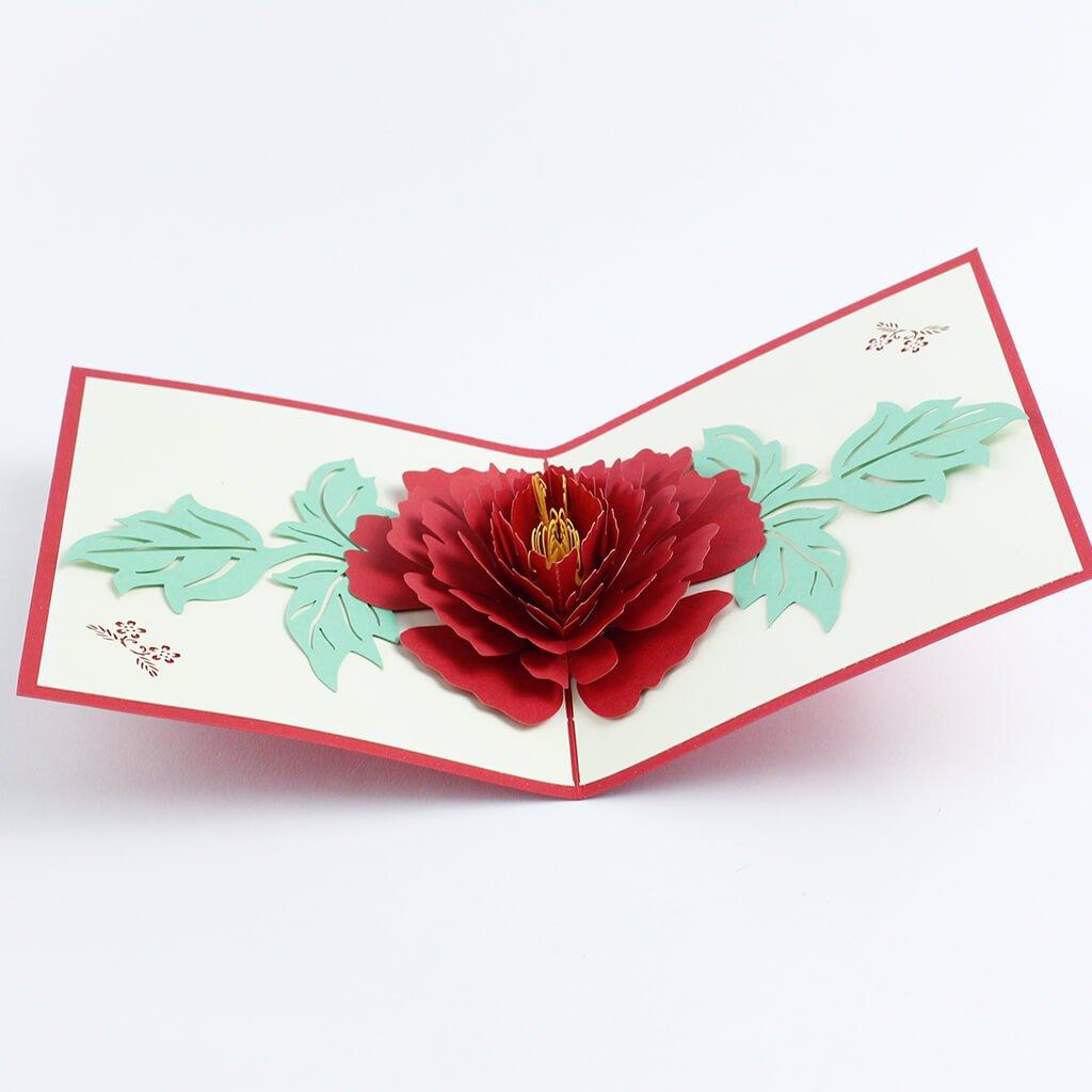 3D přání Červený květ