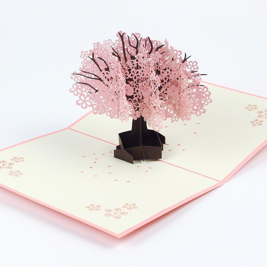 3D přání Růžový rozkvetlý strom