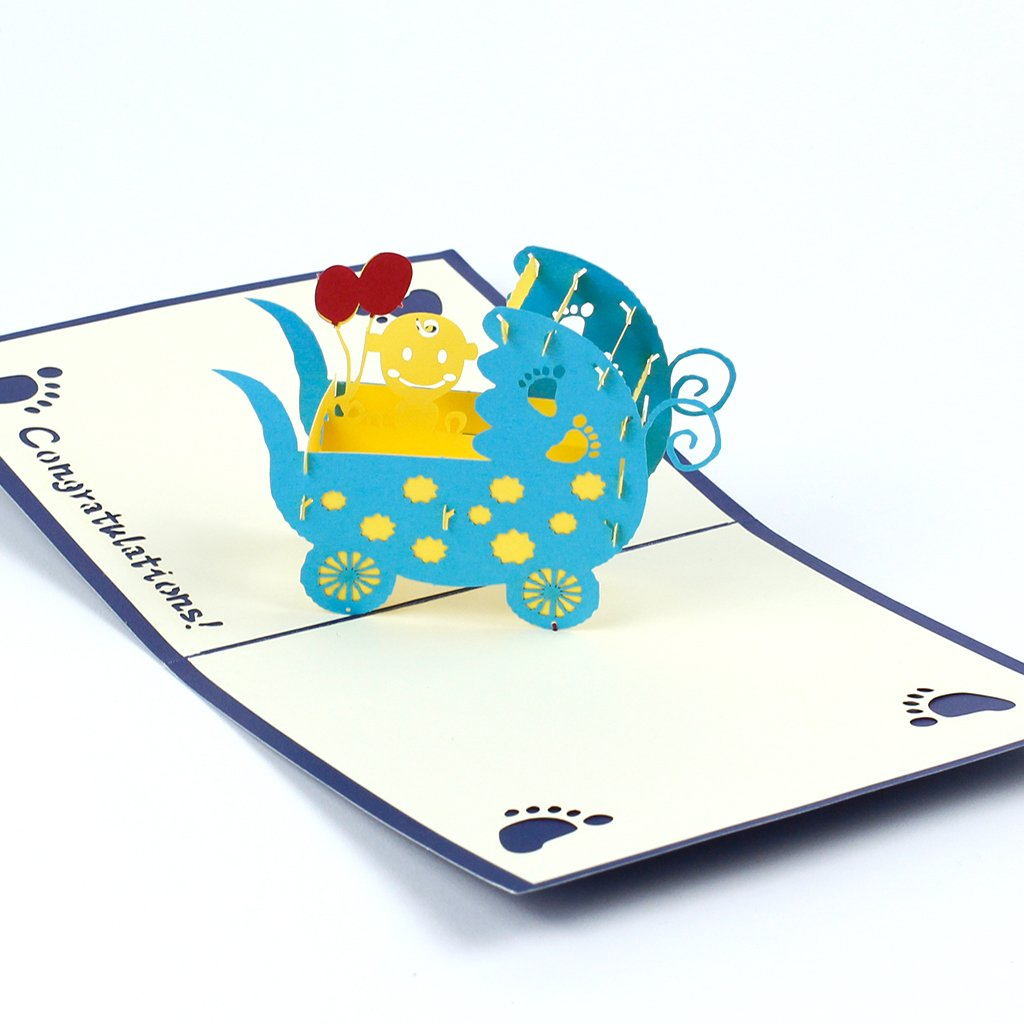 3D přání Modrý kočárek