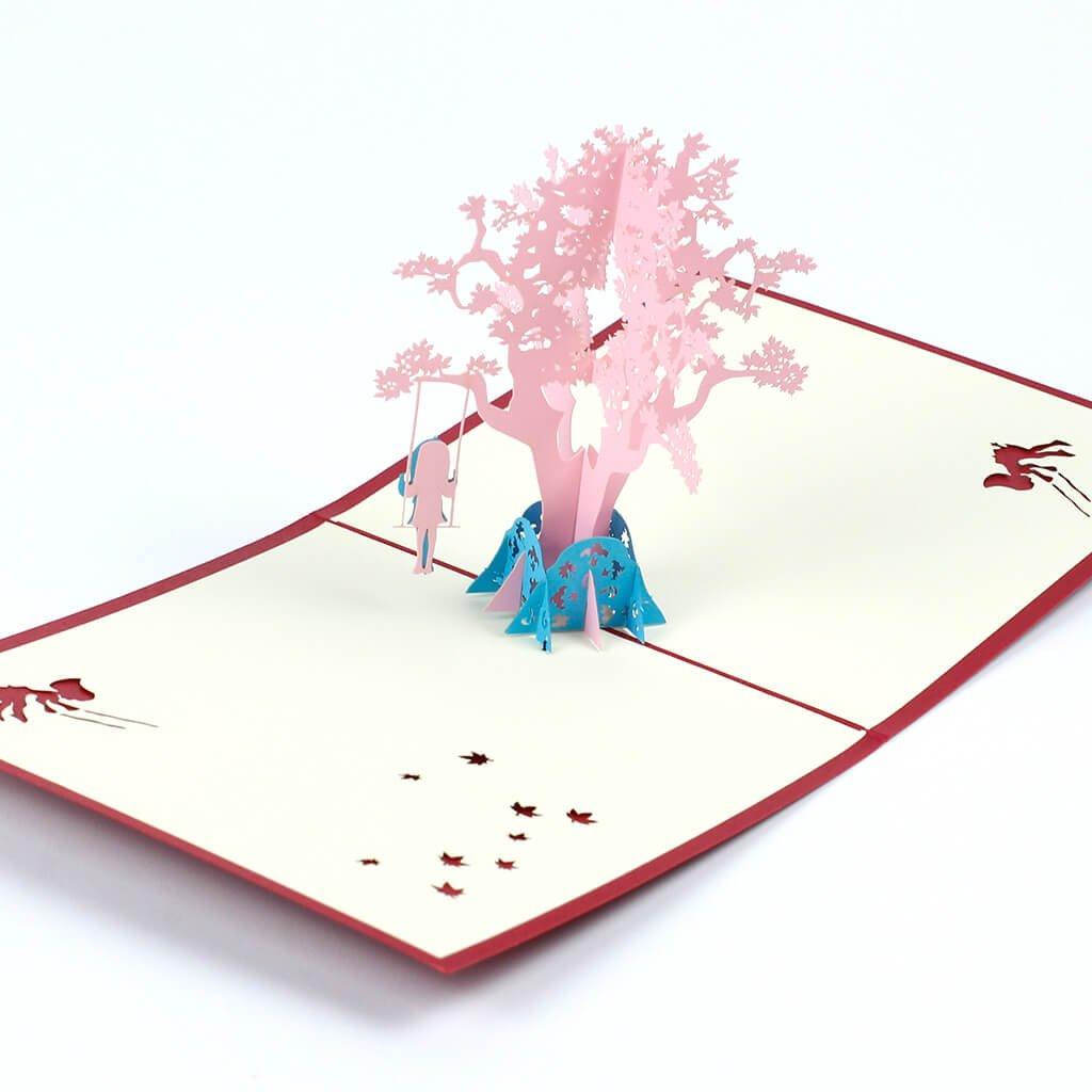 3D přání Dívka na houpačce