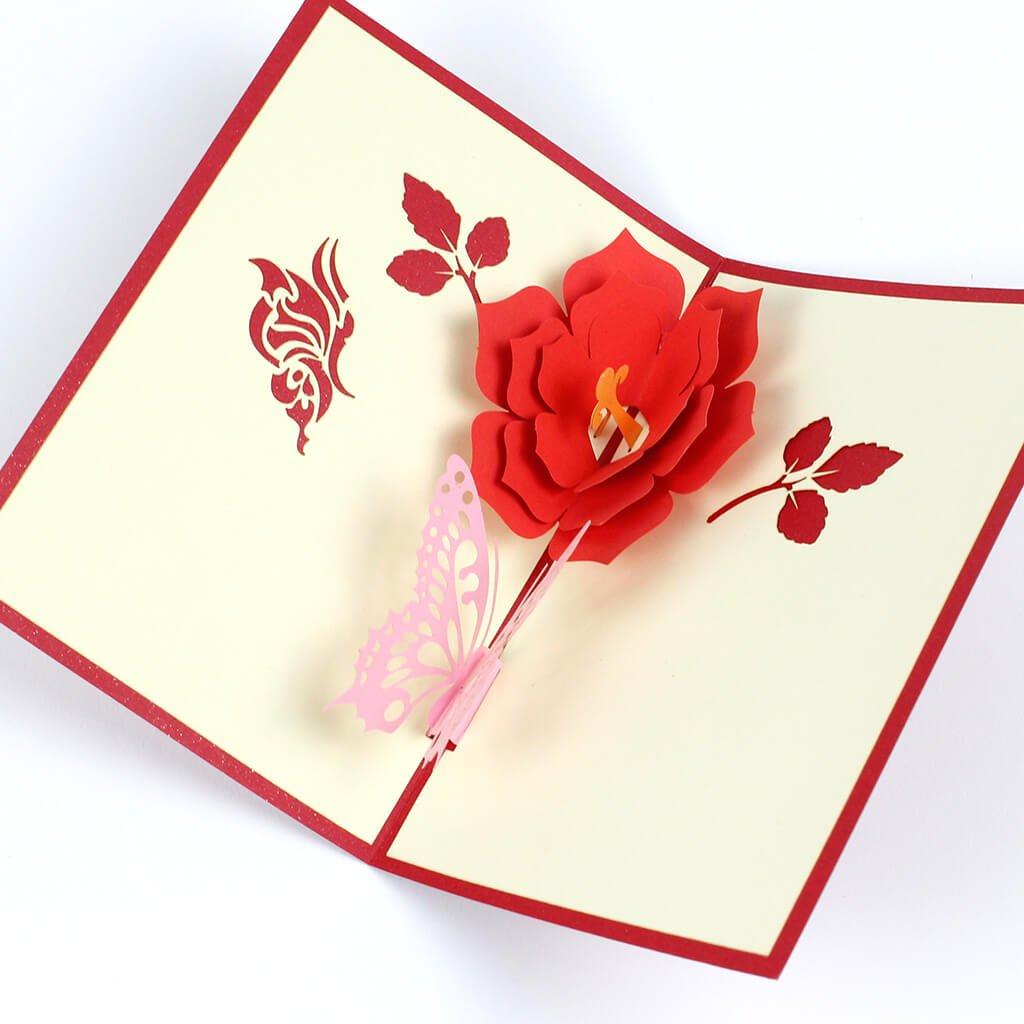 3D přání Motýl a růže