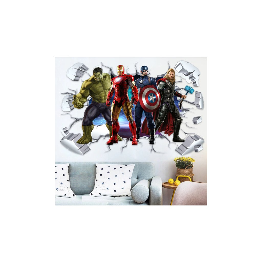 Samolepka na zeď Avengers hrdinové