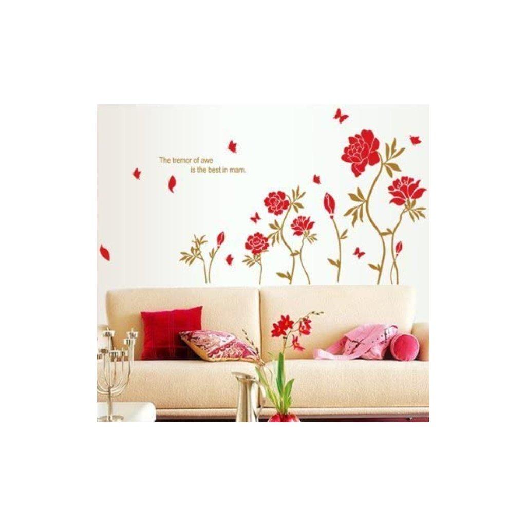 Samolepka na zeď Plazící se červené růže