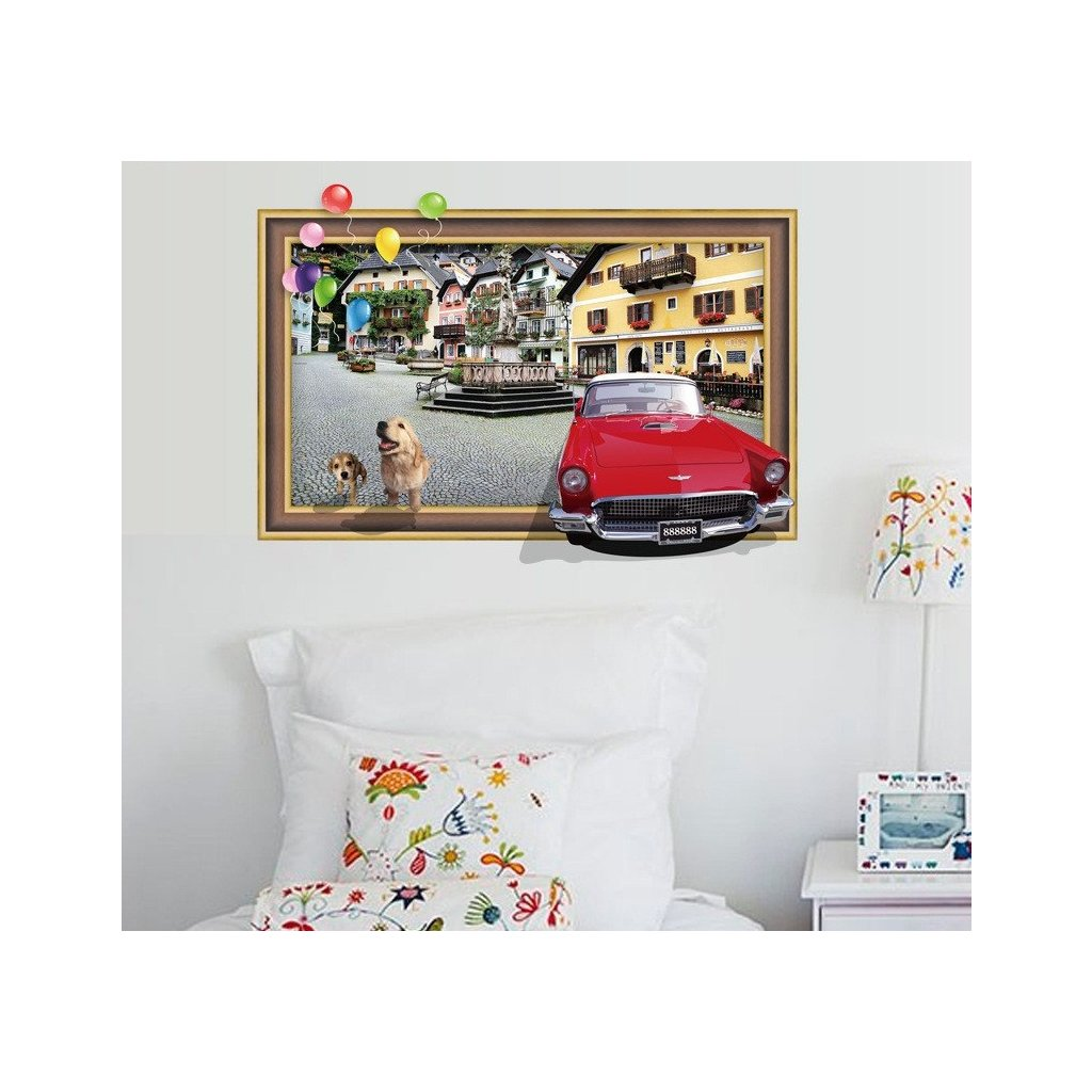 Samolepka na zeď 3D Auto v obraze