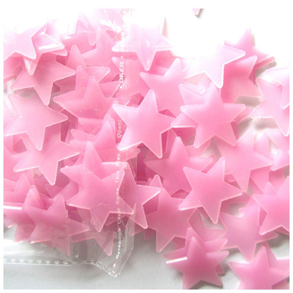 Svítící fosforové růžové hvězdičky 80 ks hvězdy