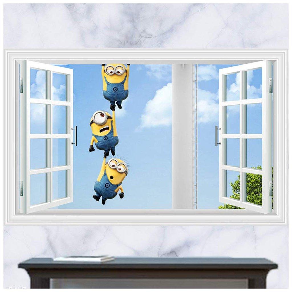 samolepka na zeď Mimoni za oknem