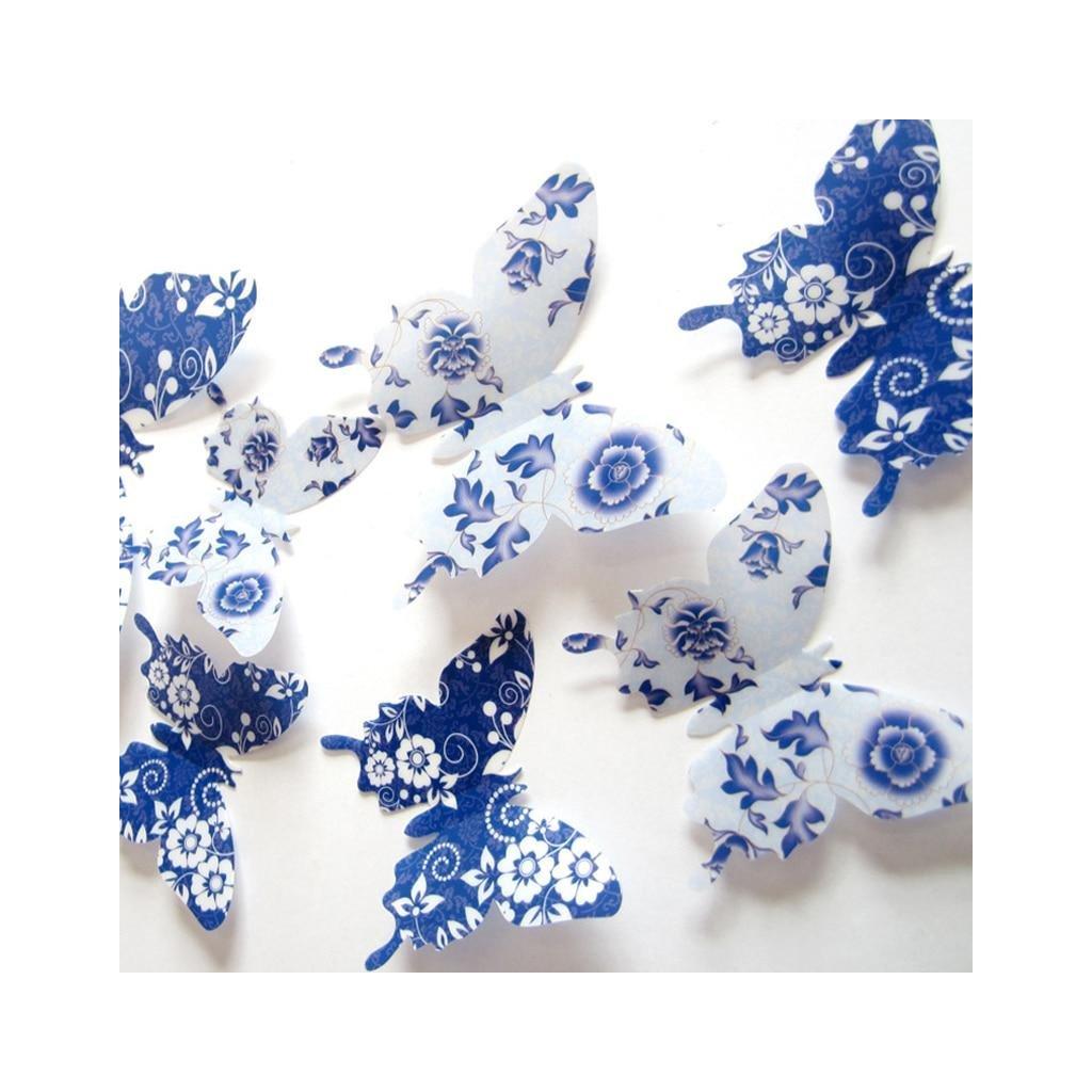 Barevní 3D Motýlci Modří s květinami