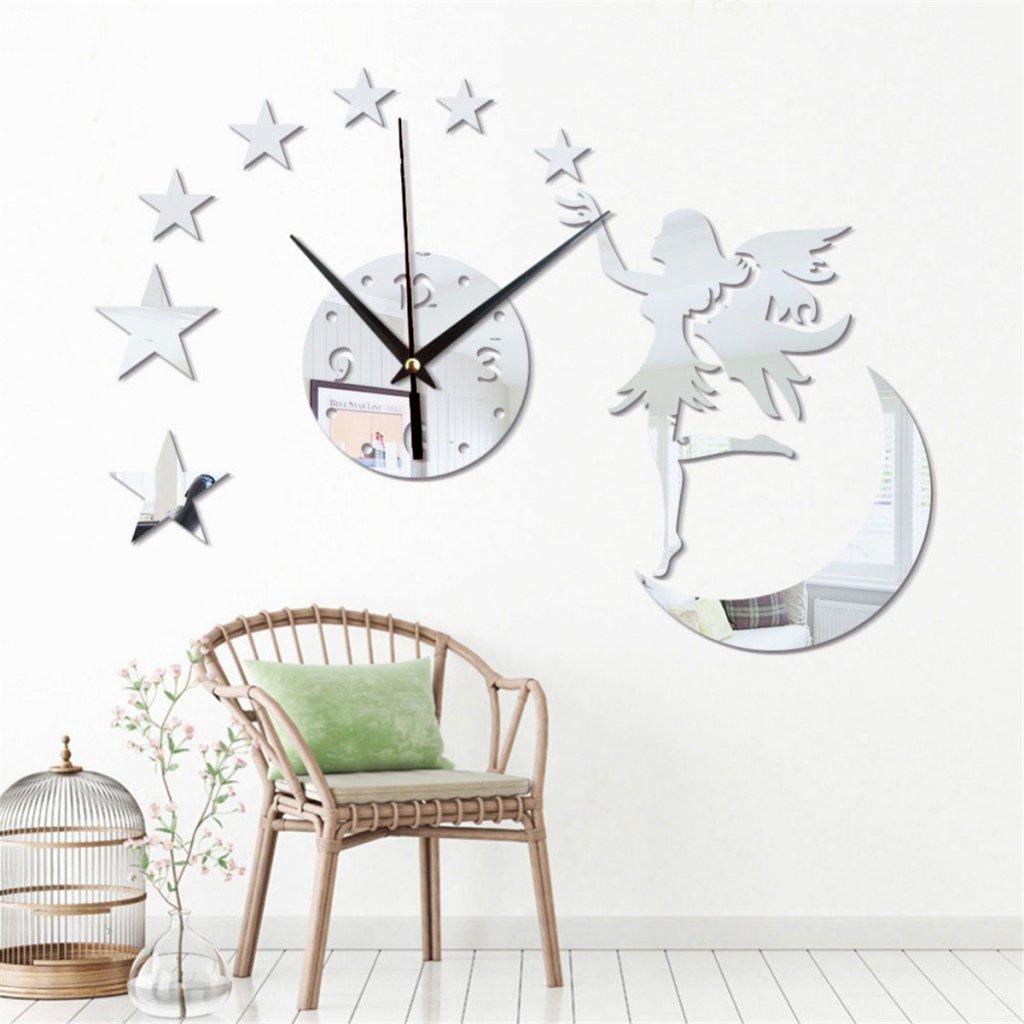 nástěnné samolepící Hodiny ve tvaru Měsíce s vílo a hvězdami s elfem a s elfkou černé