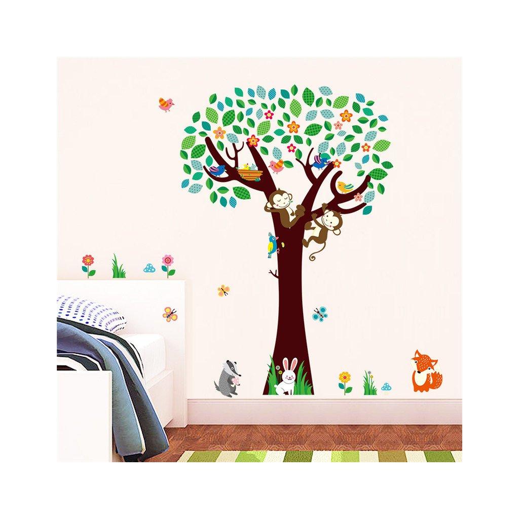 samolepka na zeď Strom s opičkami a zvířátky