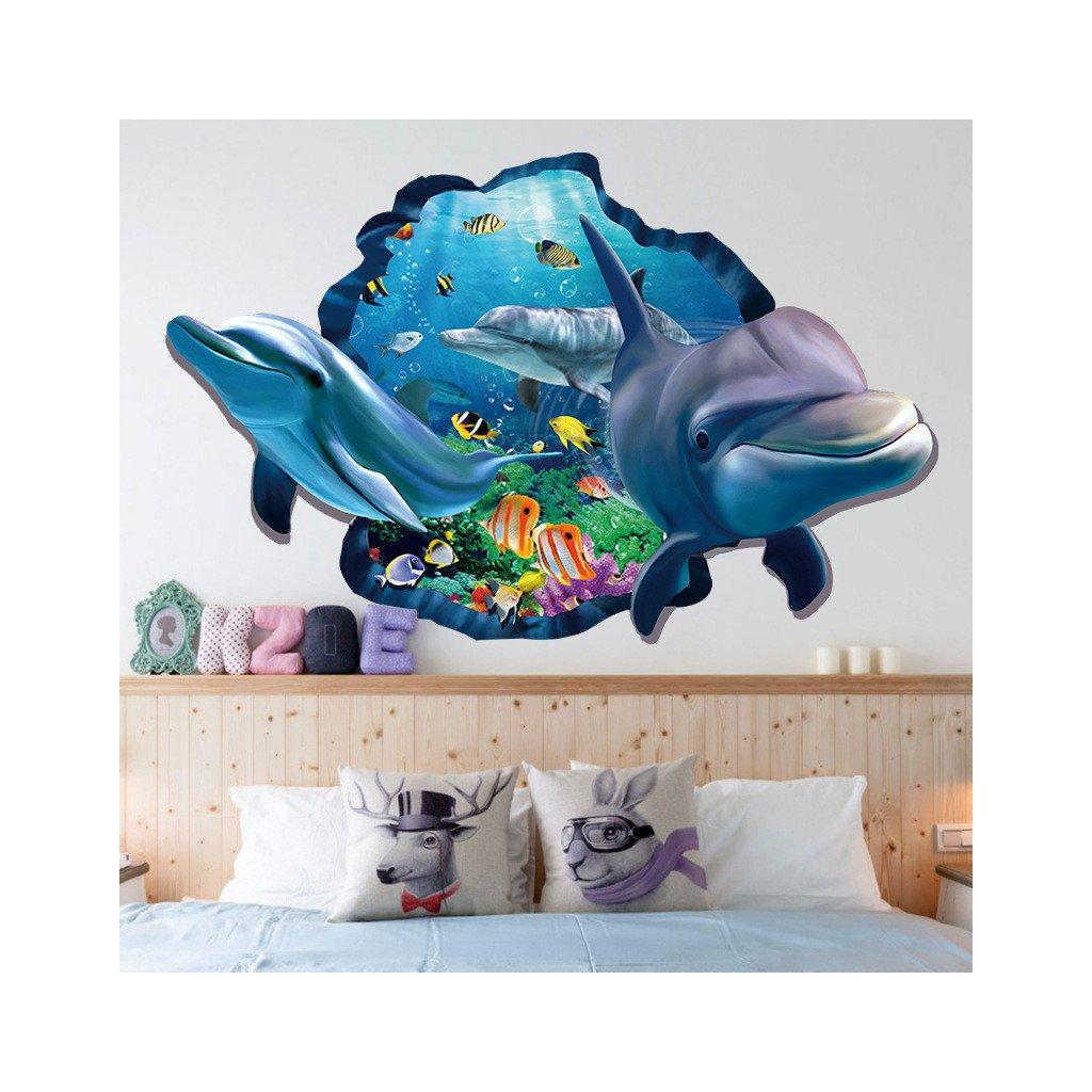 samolepka na zeď Delfíni