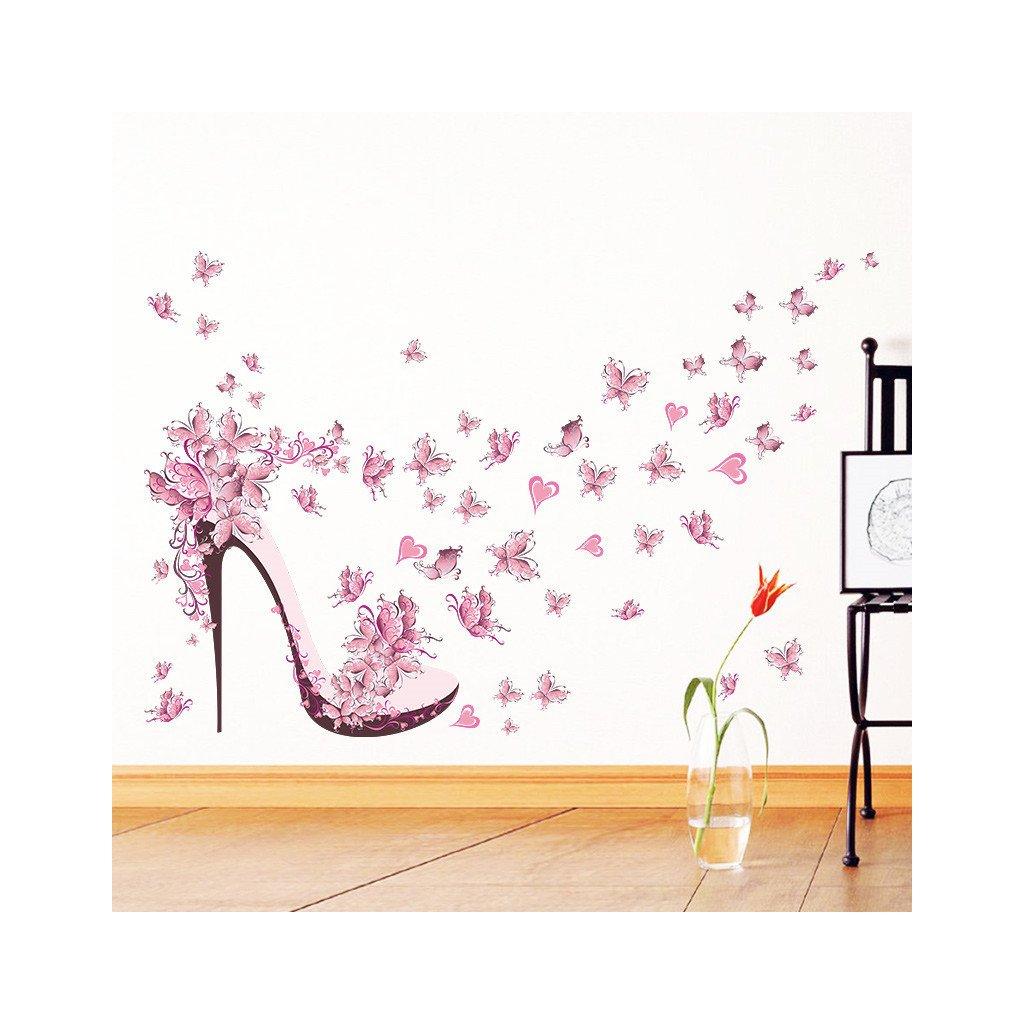 samolepka na zeď růžový střevíc