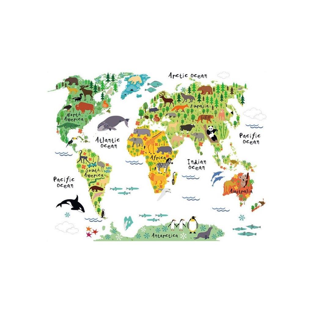 Samolepka Detska Mapa Sveta Ziva Zed