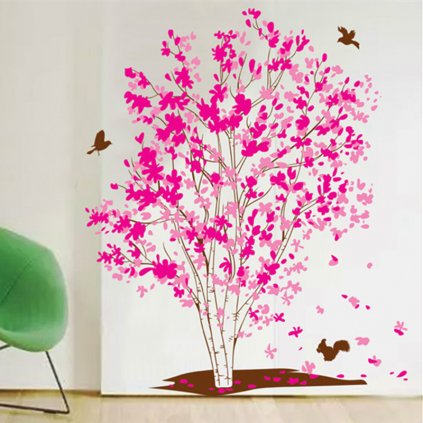 samolepka na zeď Růžová bříza