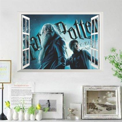 samolepka na zeď Harry Potter a Brumbál v okně