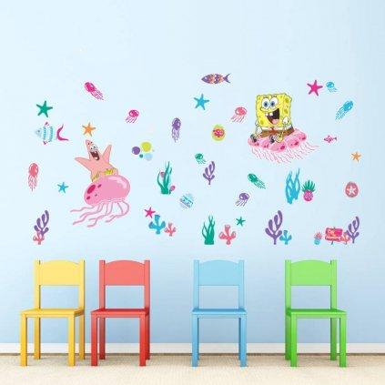 samolepka na zeď SpongeBob a hvězdice Patrick