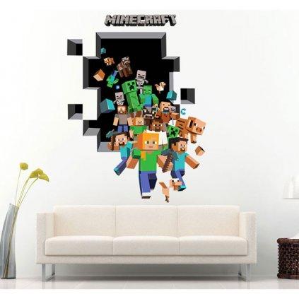 samolepka na zeď Minecraft díra