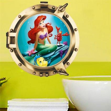Samolepka na zeď malá mořská víla Ariel
