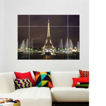 samolepka na zeď Okno s výhledem na Eiffelovu věž