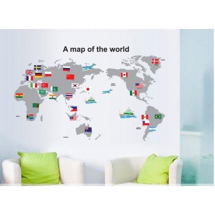 Samolepka na zeď Mapa Světa s vlajkami