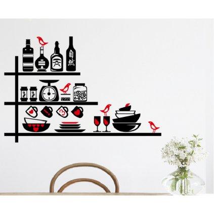Samolepka na zeď Polička s nádobím