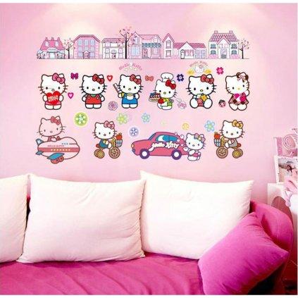 Samolepka na zeď Hello Kitty s domečky