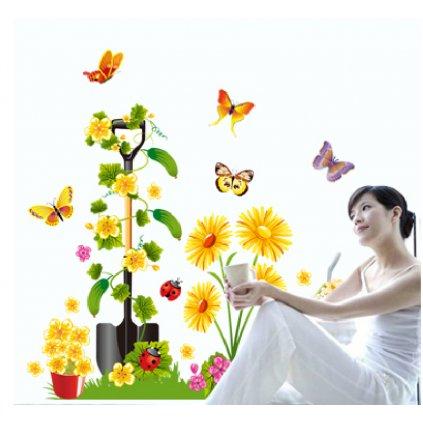 Samolepka na zeď Rýč s květy