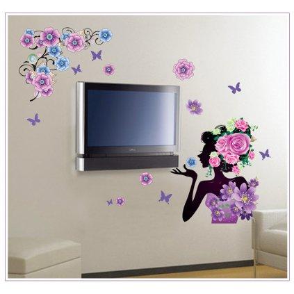Samolepka na zeď Květinová dáma