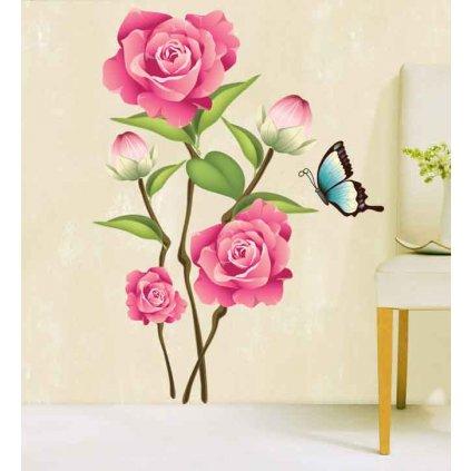 Samolepka na zeď Růžové růže