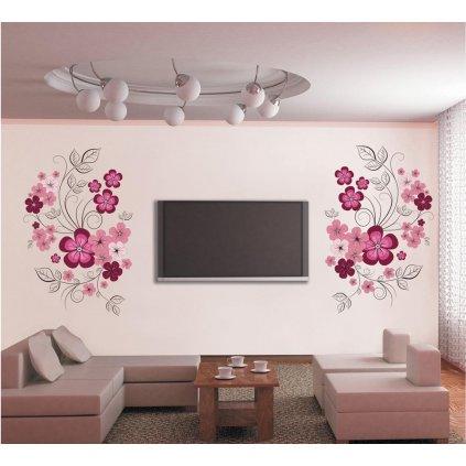 Samolepka na zeď Růžové květy s motýlky