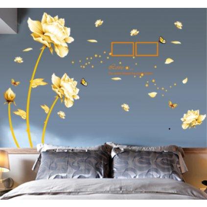 Samolepka na zeď Vanilkové květy s rámečky