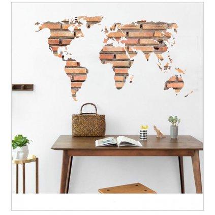 Samolepka na zeď Mapa Světa z cihel