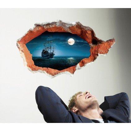 Samolepka na zeď Plující loď při úplňku