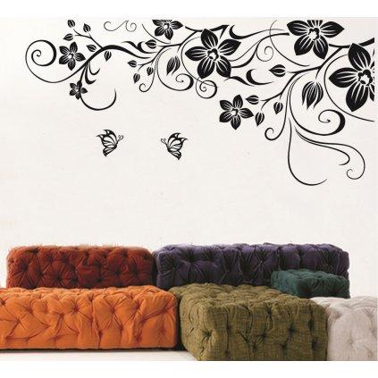 Samolepka na zeď Černé plazící se květy s motýlky