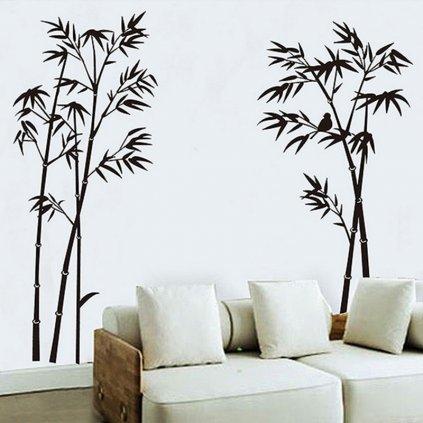 Samolepka na zeď Černé stromky s ptáčkem