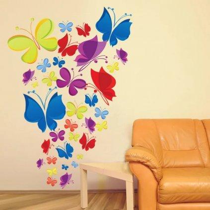 Samolepka na zeď Hejno motýlů