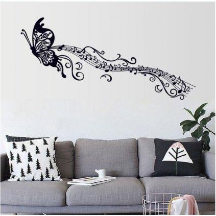 Samolepka na zeď Motýl s notami